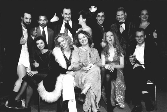 The 1995 Harold Award Founders (top left to right): Alex Poch-Goldin, Luthar Hansraj, Daniel MacIvor, Deanne Taylor, Don McKellar, Fiona Jones (standing in for Paul Bettis), Lisa Ryder (bottom left to right) Sherrie Johnson, Nadia Ross, Jacoba Knaapen, Kirsten Johnson, Darren O'Donnell